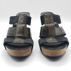 Donald J. Pliner Shoes - Donald J. Pilner Goldy S4 cork heel patent slides